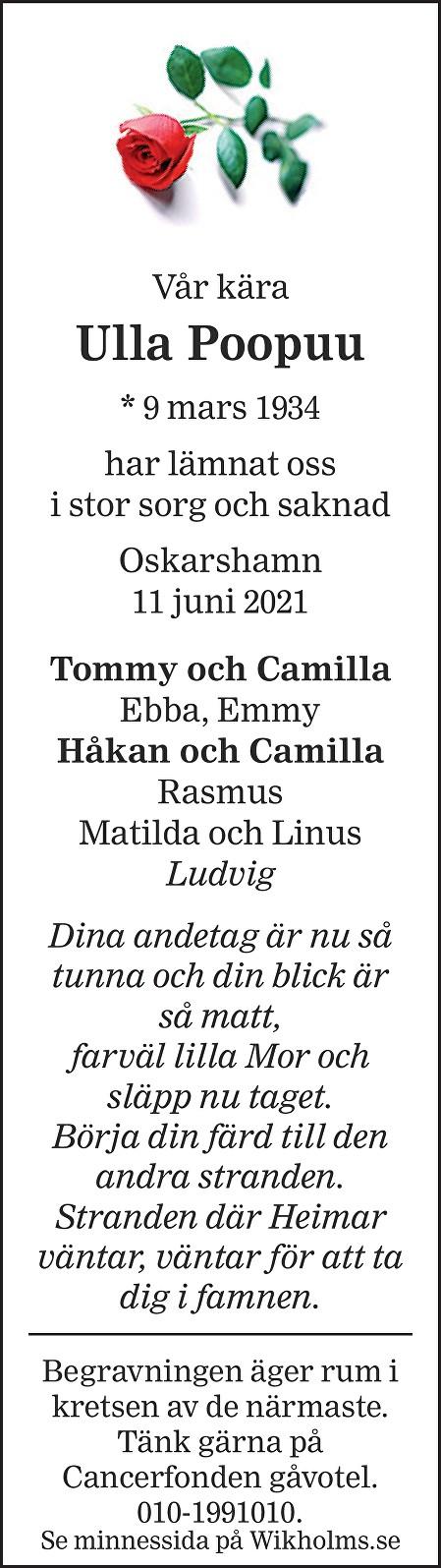 Ulla Poopuu Death notice