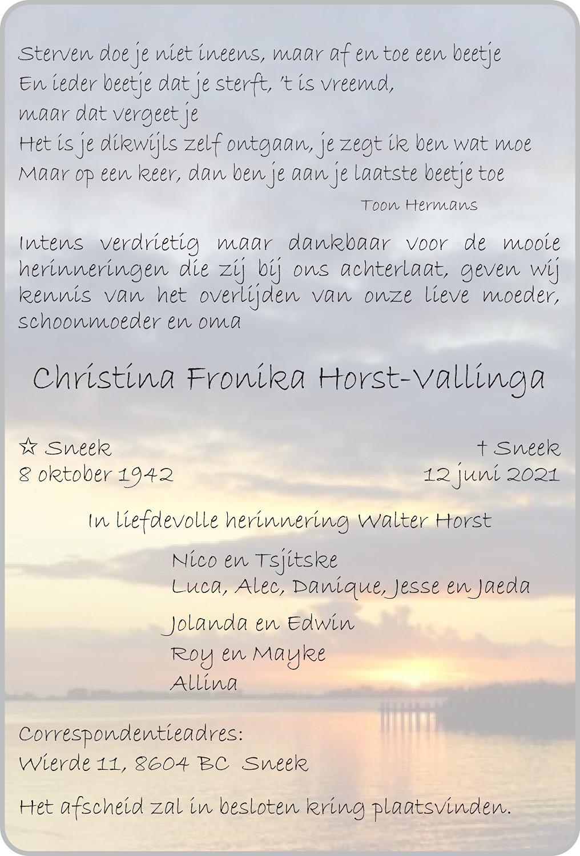 Christina Fronika Horst-Vallinga Death notice