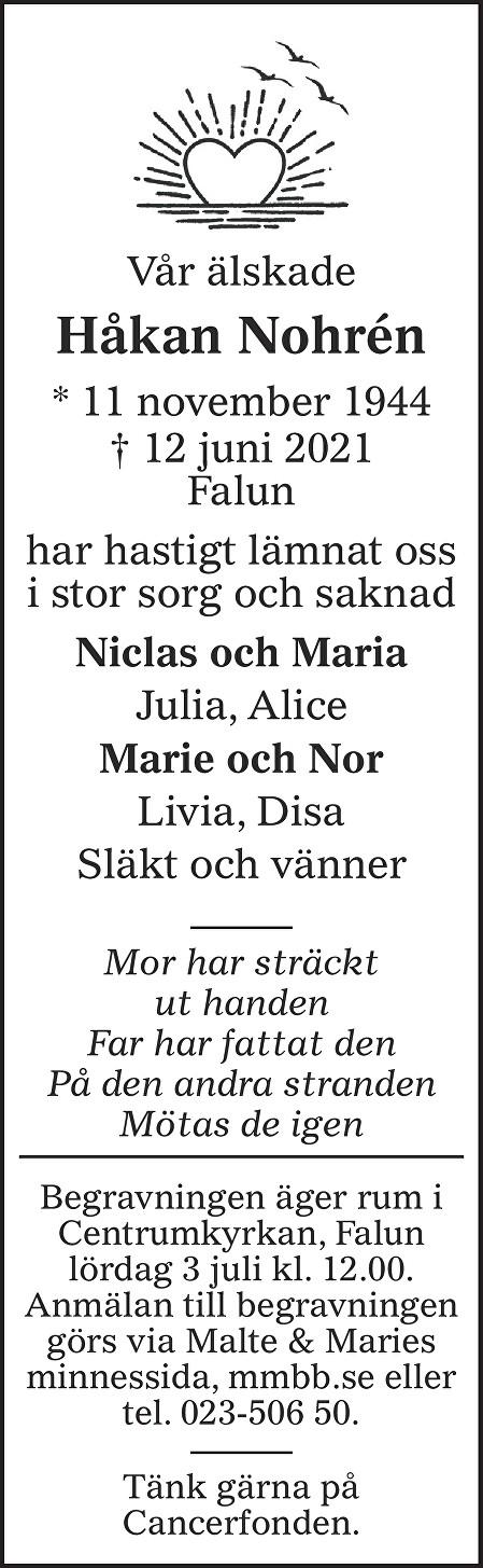 Håkan Nohrén Death notice