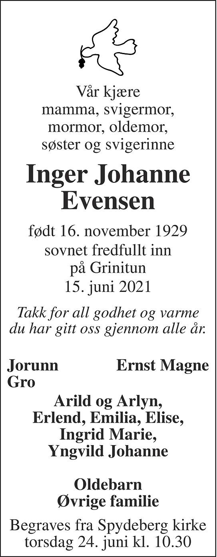 Inger Johanne Evensen Dødsannonse
