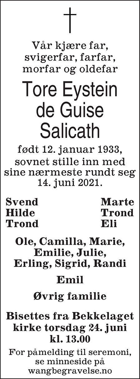 Tore Eystein de Guise Salicath Dødsannonse