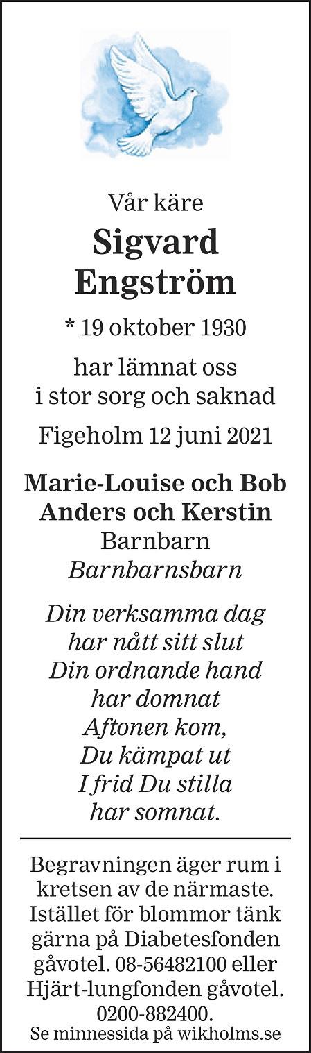 Sigvard Engström Death notice
