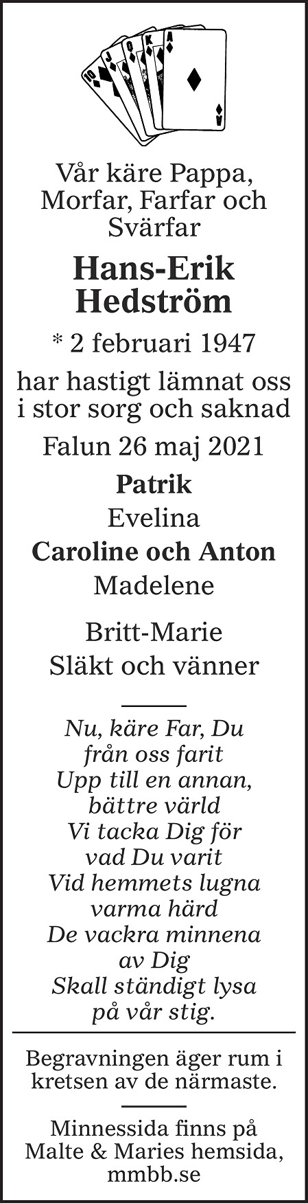 Hans-Erik Hedström Death notice