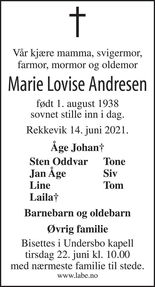 Marie Lovise Andresen Dødsannonse