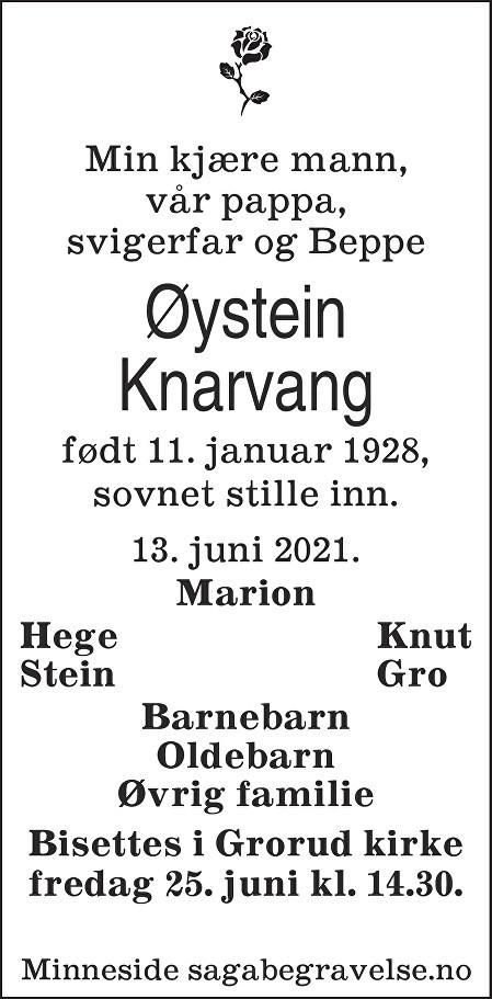 Øystein  Knarvang Dødsannonse