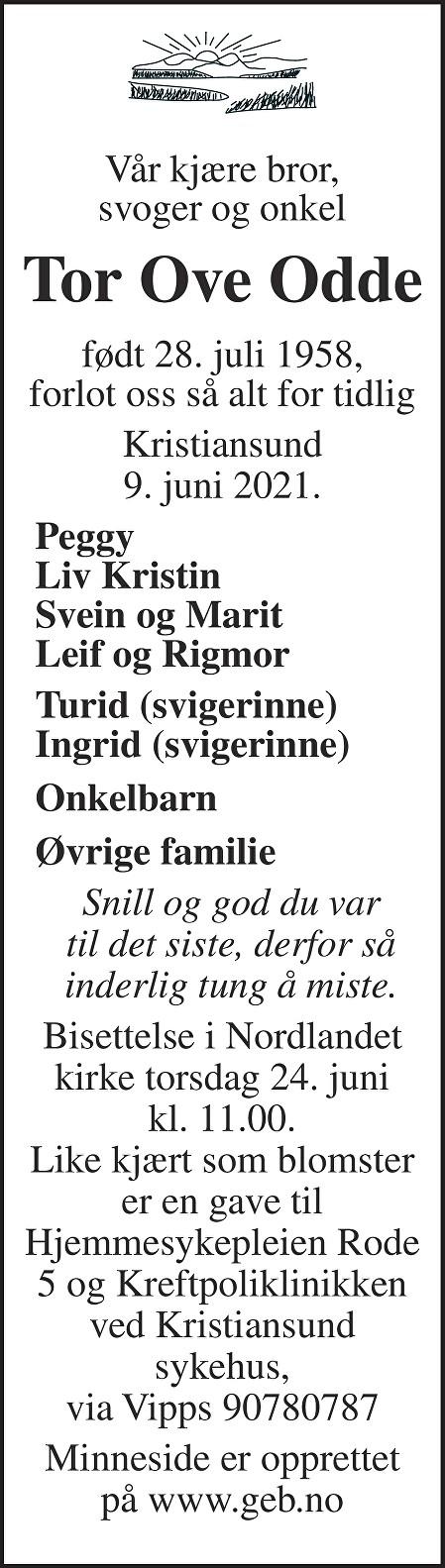 Tor Ove Odde Dødsannonse