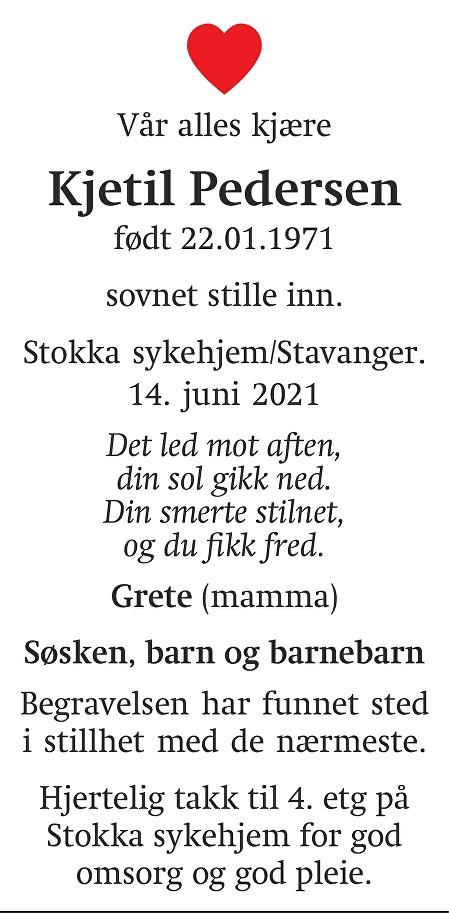 Kjetil  Pedersen  Dødsannonse
