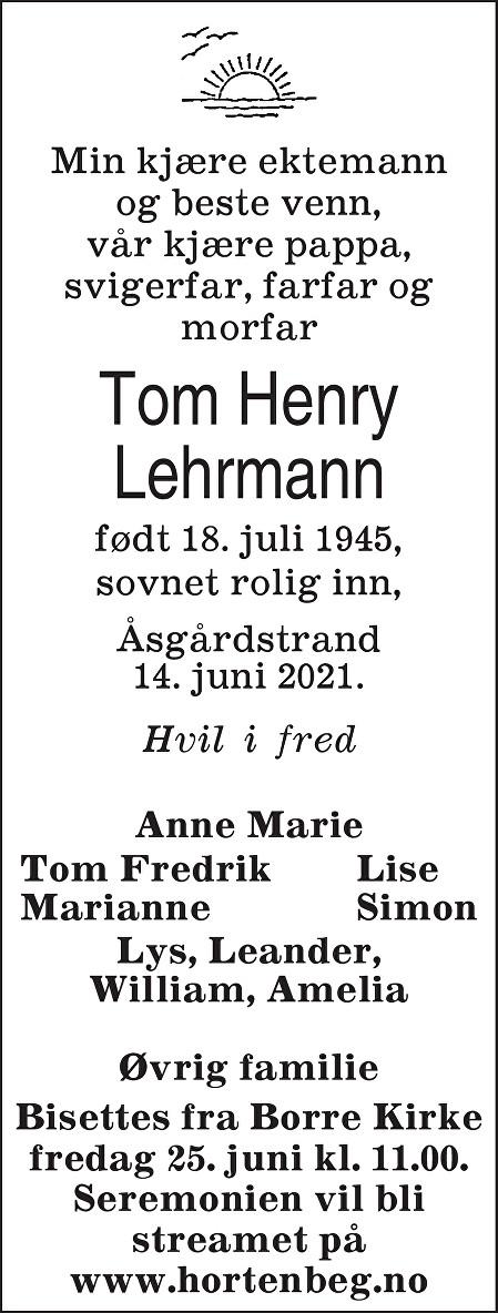 Tom Henry Lehrmann Dødsannonse