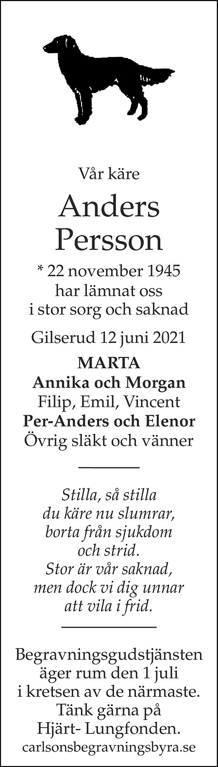 Anders Persson Death notice