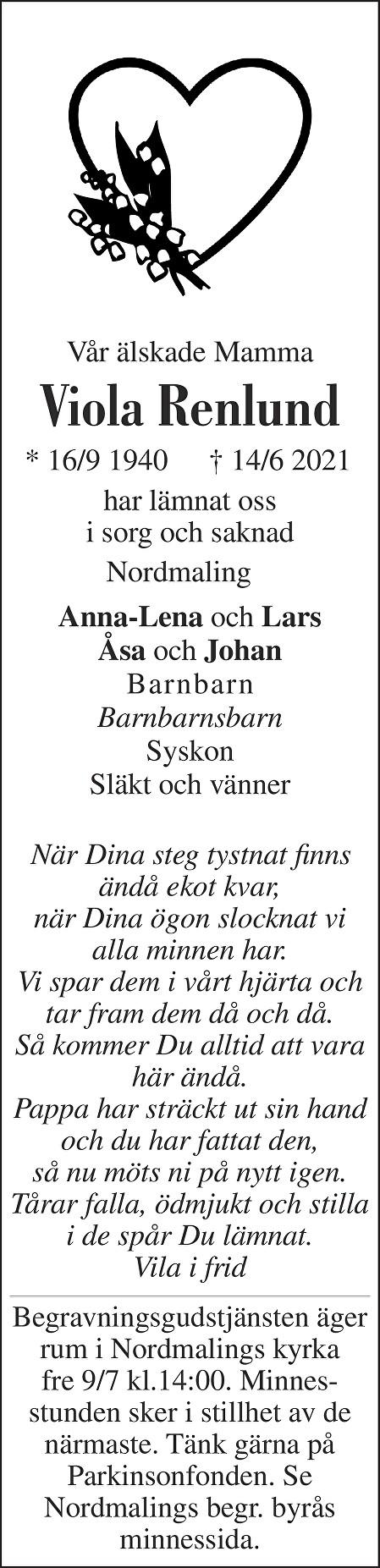 Viola Renlund Death notice