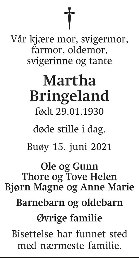 Martha Thorbjørg Bringeland Dødsannonse