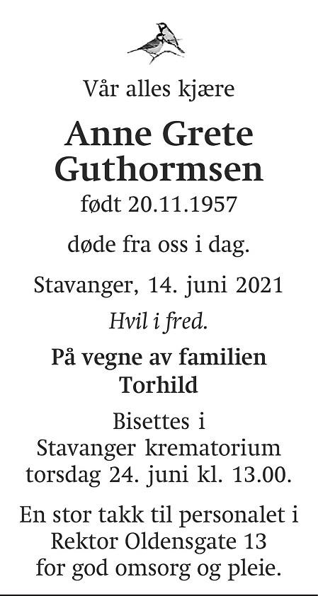 Anne Grete Guthormsen Dødsannonse