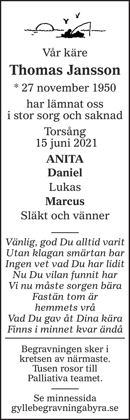 Thomas Jansson Death notice