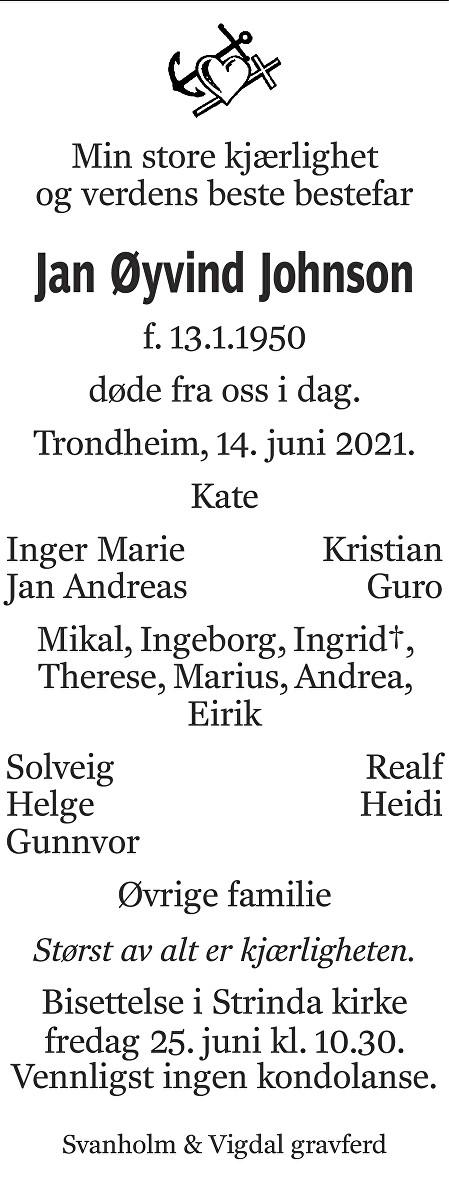Jan Øyvind Johnson Dødsannonse