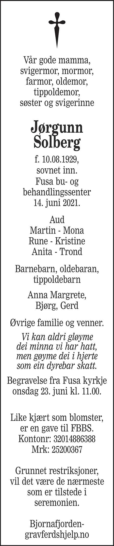 Jørgunn Solberg Dødsannonse