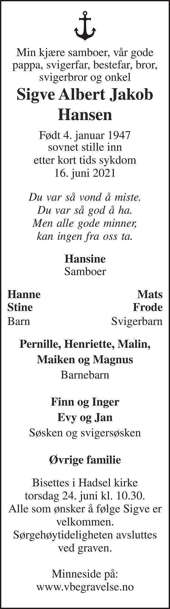 Sigve Albert Jakob Hansen Dødsannonse