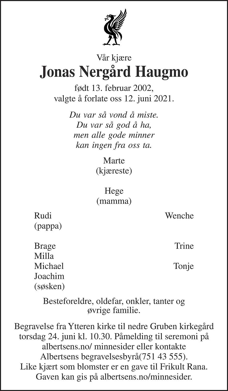 Jonas Nergård Haugmo Dødsannonse