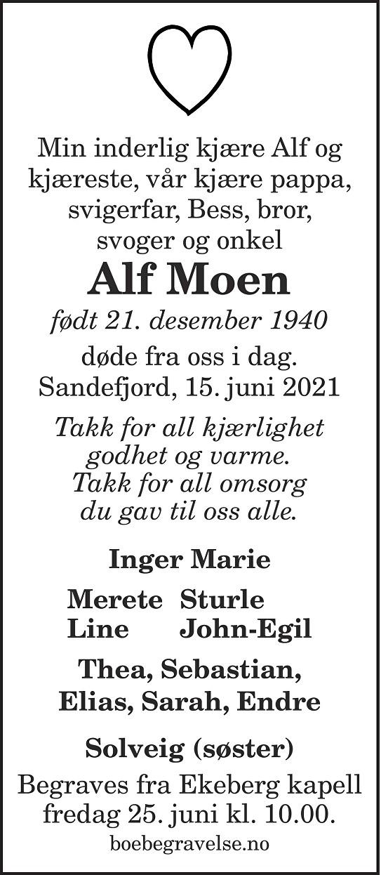 Alf Moen Dødsannonse