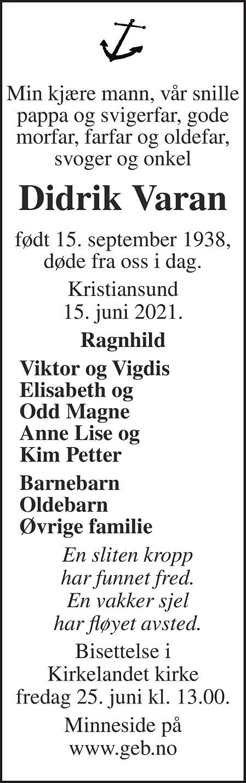 Didrik Konrad Erling Varan Dødsannonse