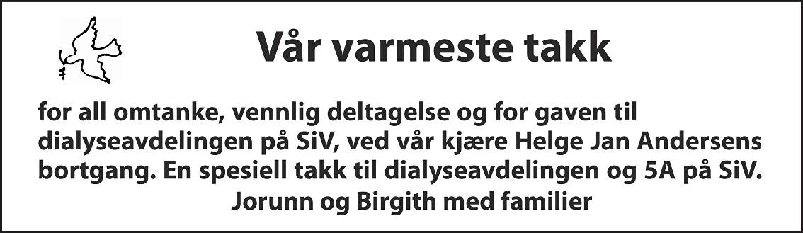 Helge Jan Andersen Dødsannonse
