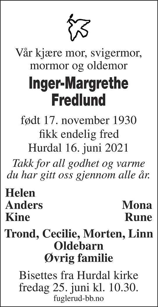 Inger-Margrethe Fredlund Dødsannonse