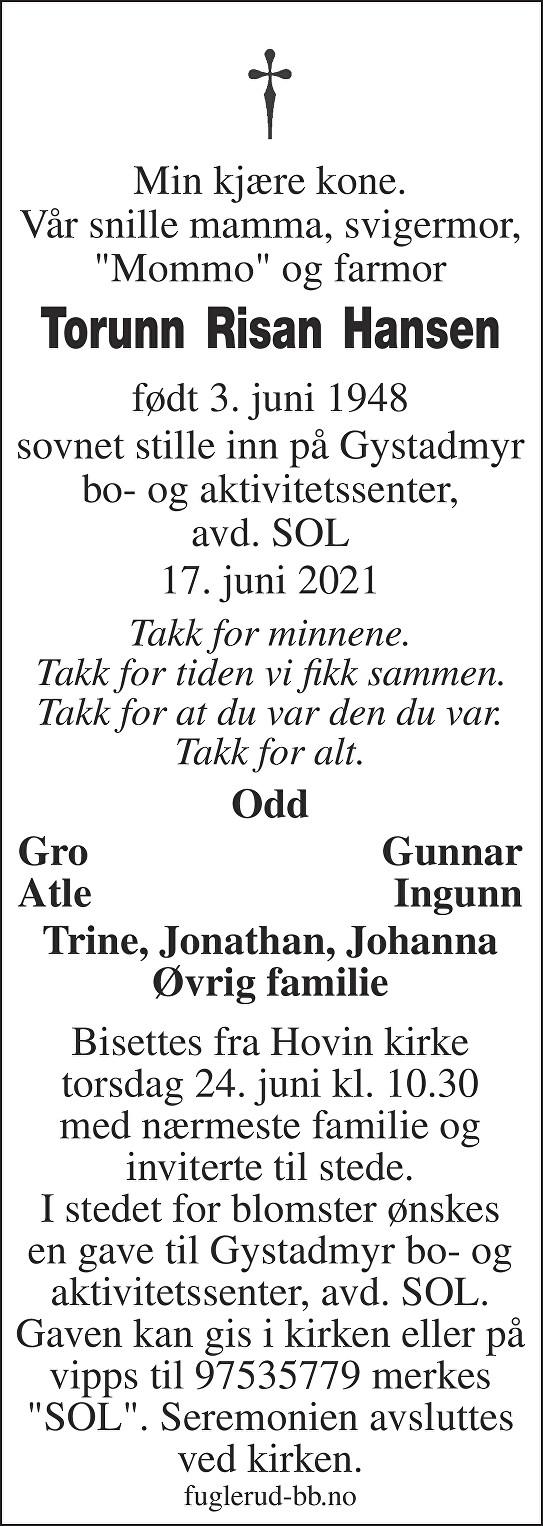 Torunn Risan Hansen Dødsannonse
