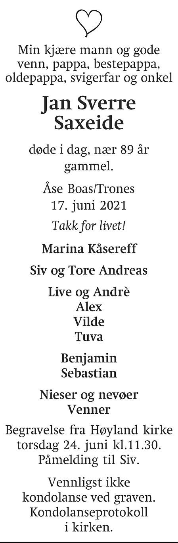 Jan Sverre Saxeide Dødsannonse