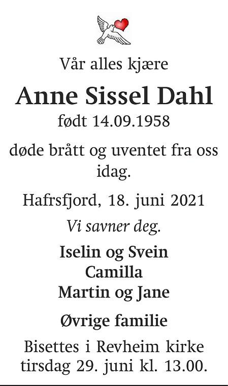 Anne Sissel  Dahl Dødsannonse