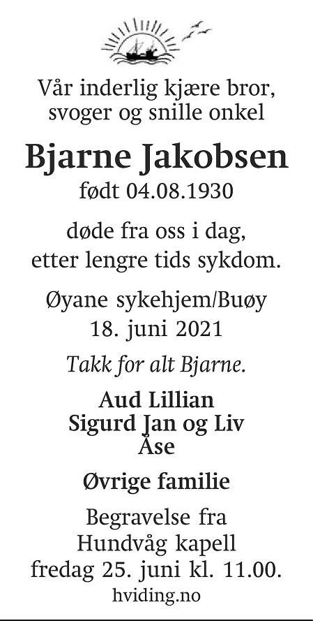 Bjarne Ingolf Jakobsen Dødsannonse