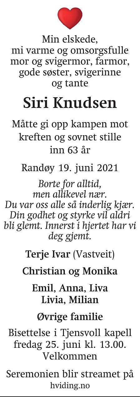 Siri Knudsen Dødsannonse