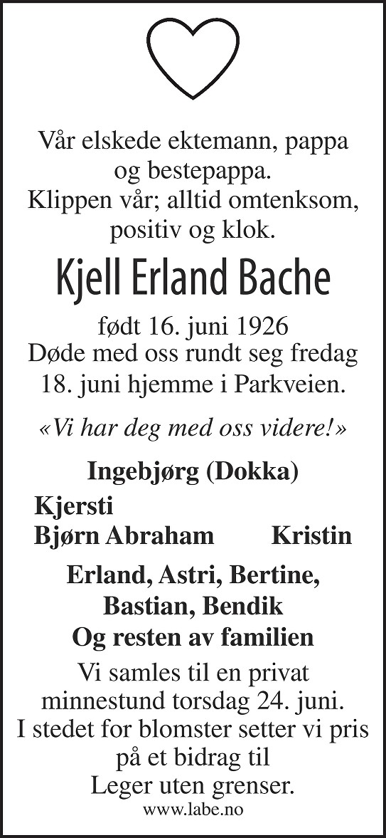 Kjell Erland Bache Dødsannonse