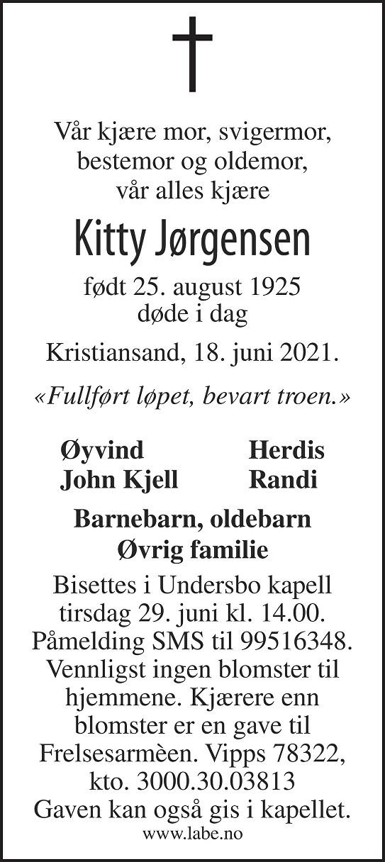 Kitty Jørgensen Dødsannonse