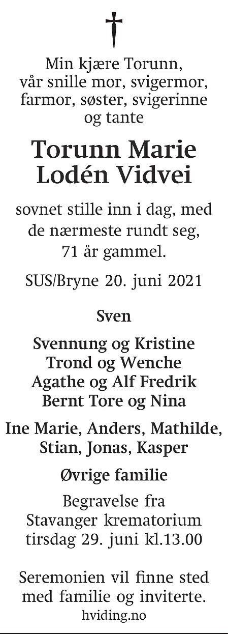Torunn Marie Lodén  Vidvei Dødsannonse