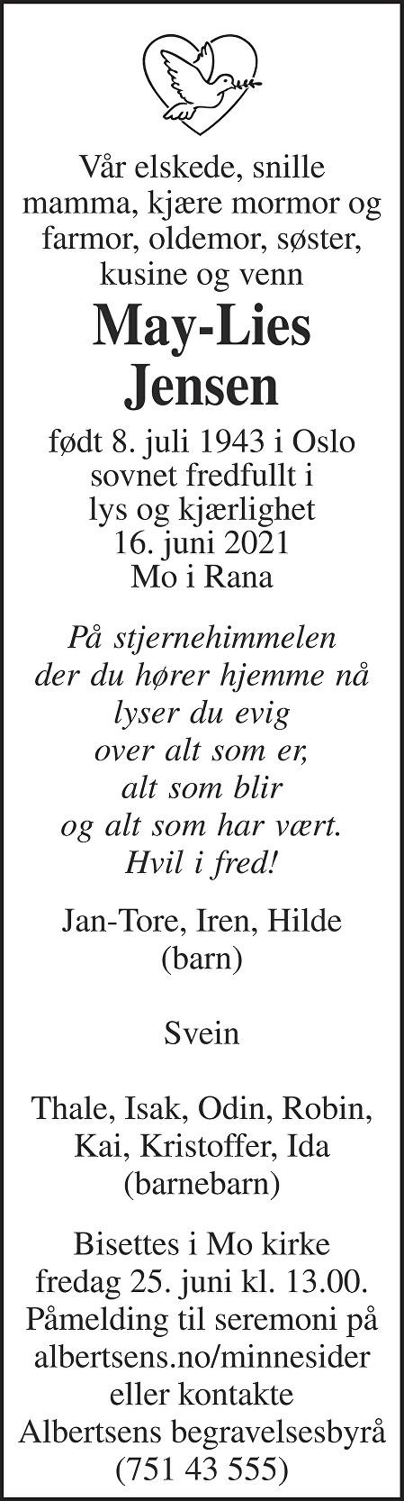 May-Lies Jensen Dødsannonse