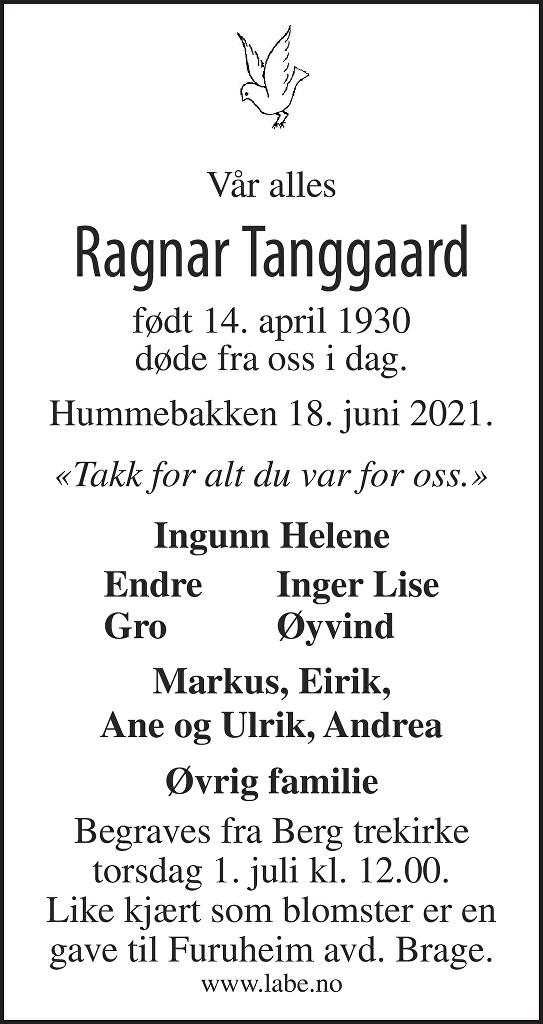 Ragnar Tanggaard Dødsannonse