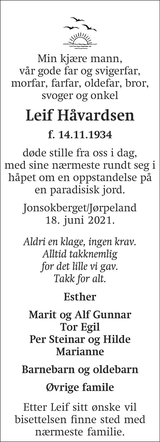 Leif Håvardsen Dødsannonse