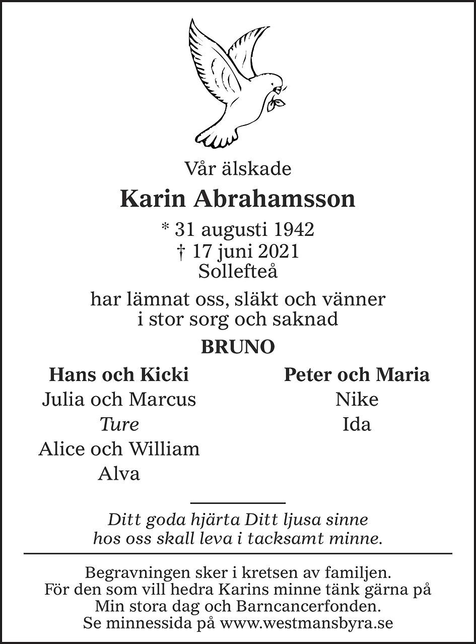 Karin Abrahamsson Death notice