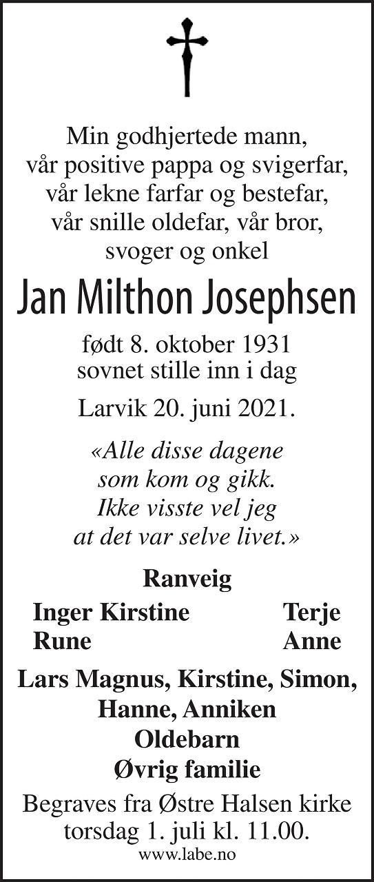 Jan Milthon Josephsen Dødsannonse