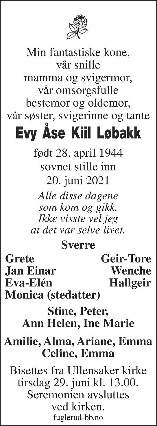 Evy Åse Kiil Løbakk Dødsannonse