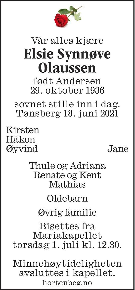 Elsie Synnøve Olaussen Dødsannonse
