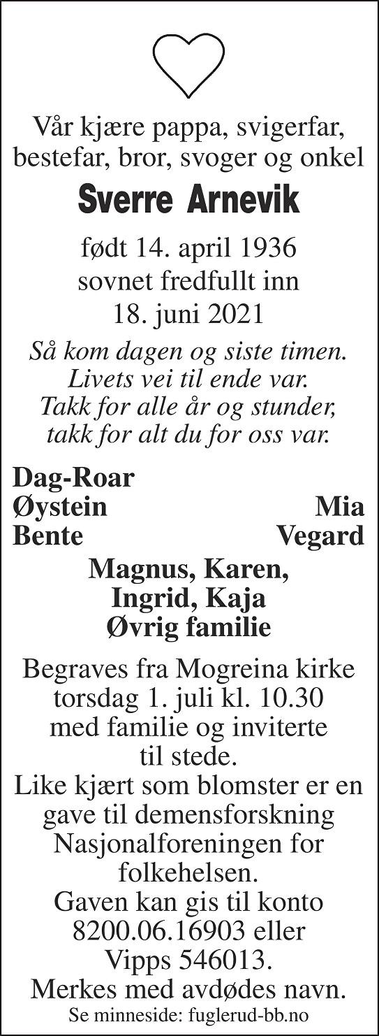Sverre Asbjørn Arnevik Dødsannonse