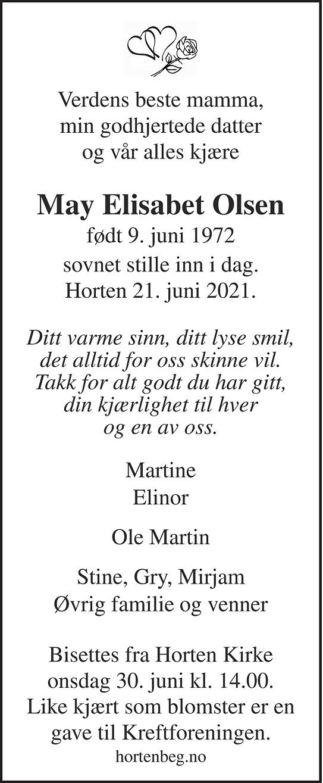 May Elisabet Olsen Dødsannonse
