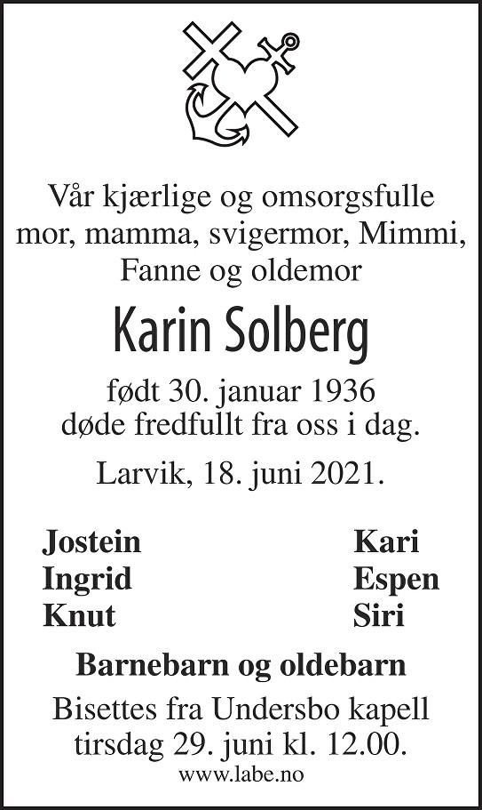 Karin Solberg Dødsannonse