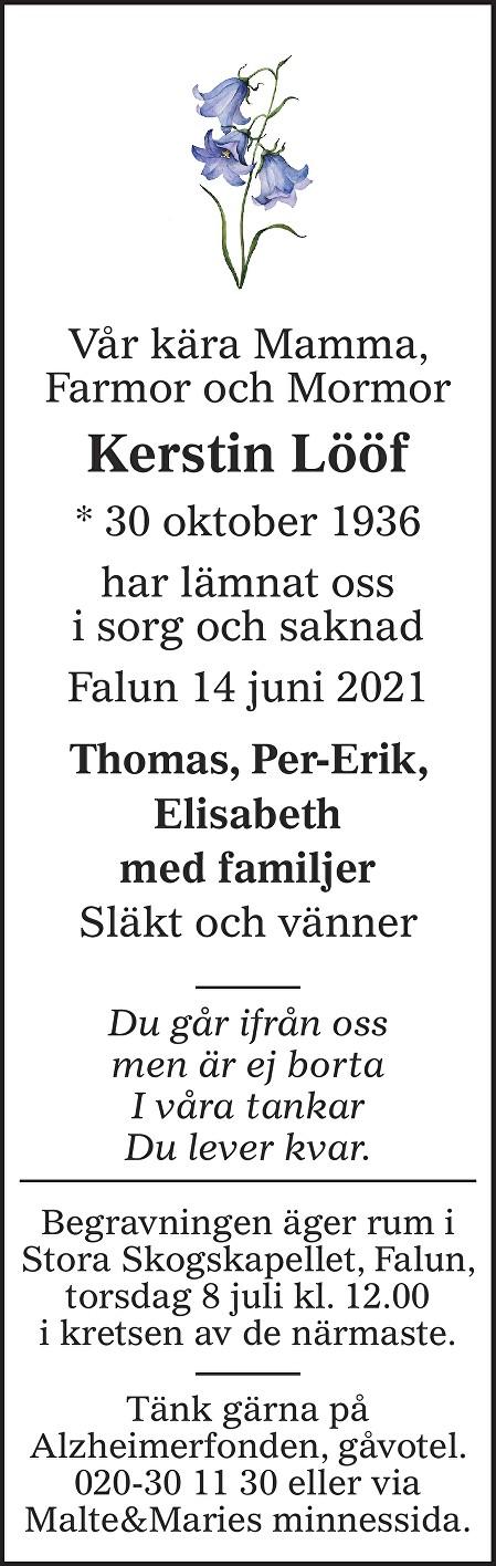 Kerstin Lööf Death notice