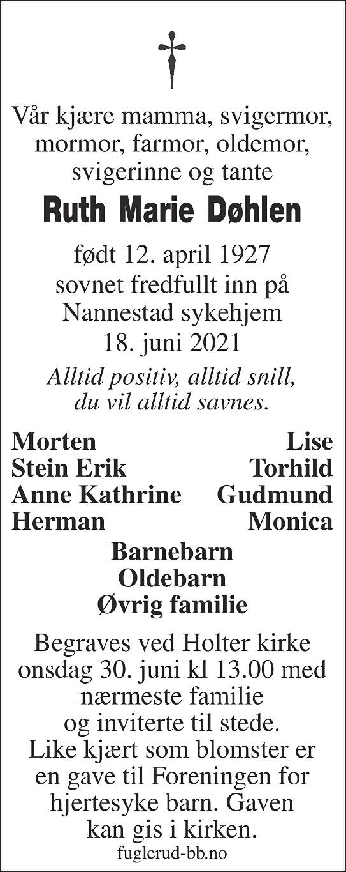 Ruth Marie Døhlen Dødsannonse
