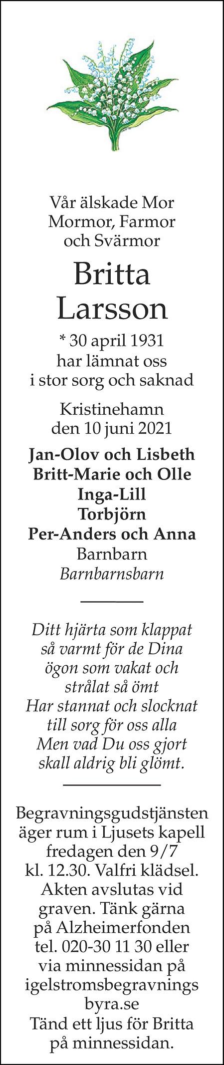 Britta Larsson Death notice