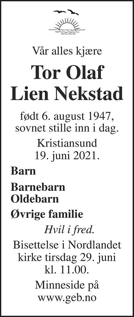 Tor Olaf Lien Nekstad Dødsannonse