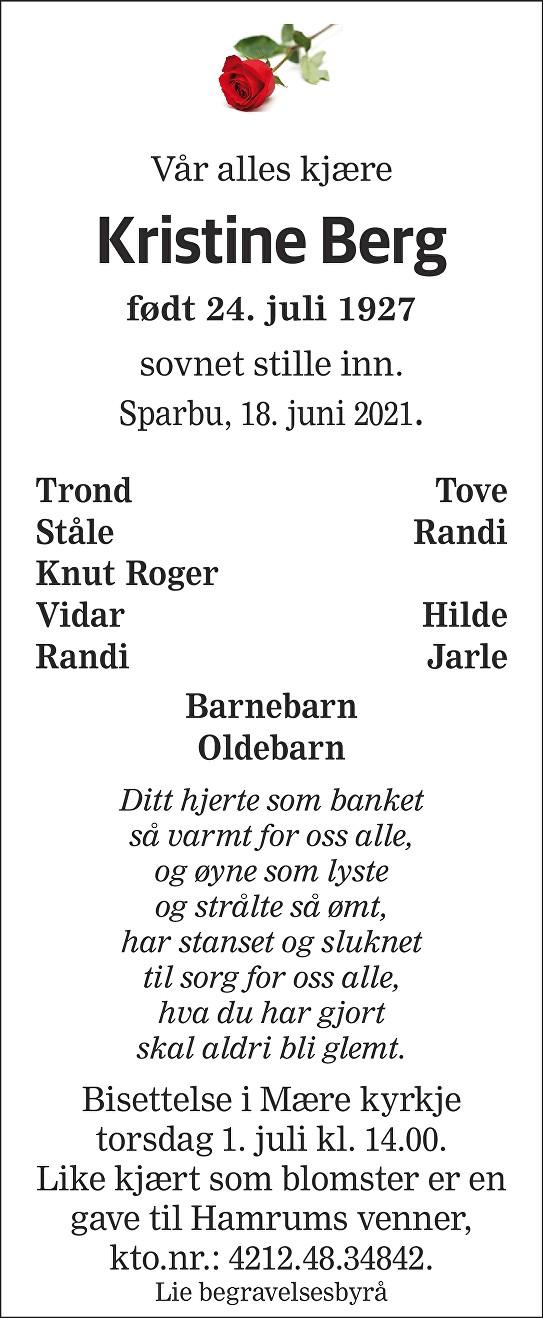 Kristine Berg Dødsannonse