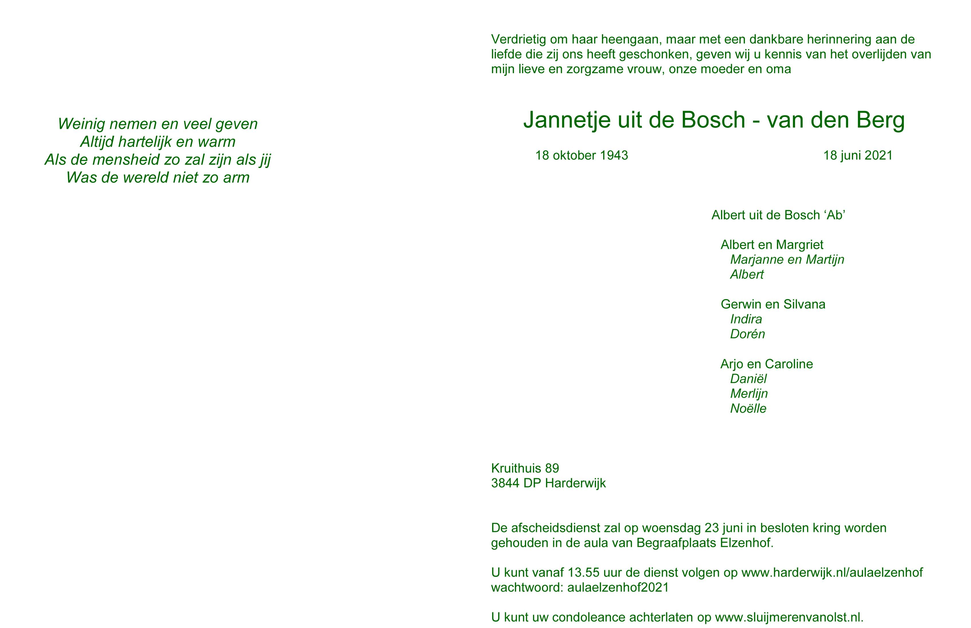 Jannie uit de Bosch-van den Berg Death notice