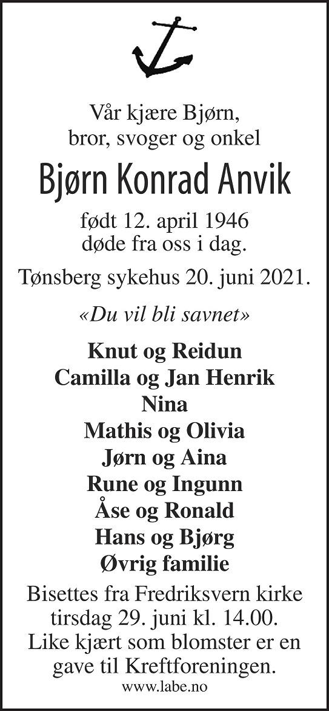 Bjørn Konrad Anvik Dødsannonse
